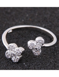 Fashion Silver Color Flower Shape Decorated Opening Ring