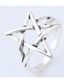 Vintage Silver Color Star Shape Decorated Ring