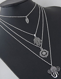 Fashion Silver Color Elephant Shape Decorated Multi-layer Necklace