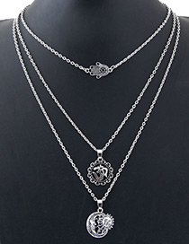 Fashion Silver Color Moon&sun Shape Decorated Necklace
