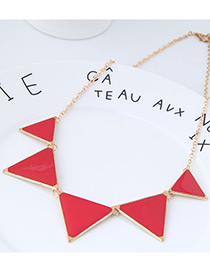 fashion Red+gold Color Triangle Shape Decorated Necklace