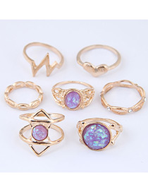 Fashion Gold Color+purple Hollow Out Design Ring Sets(7pcs)