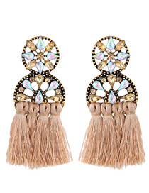 Elegant Coffee Hollow Out Design Tassel Earrings