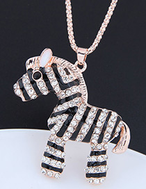 Fashion Rose Gold Zebra Shape Decorated Necklace