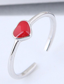Fashion Red+silver Color Heart Shape Decorated Ring