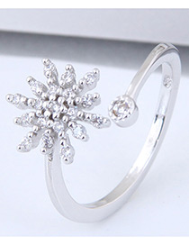 Fashion Silver Color Snowflower Shape Decorated Ring