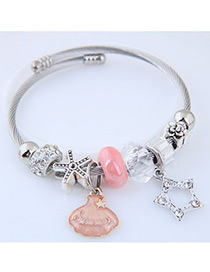 Fashion Silver Color+pink Star&shell Shape Decorated Bracelet