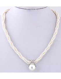 Simple White Diamond&pearl Decorated Necklace