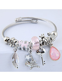 Elegant Pink Key&tower Pendant Decorated Bracelet