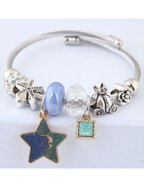 Elegant Blue+green Star&diamond Pendant Decorated Bracelet