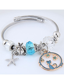 Elegant Blue Starfish&cat Pendant Decorated Bracelet