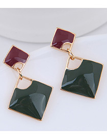 Elegant Red+green Square Shape Design Color Mathcing Earrings