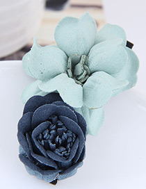 Fashion Blue+green Flower Shape Decorated Hairclip
