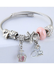 Fashion Pink Crown Shape Decorated Bracelet