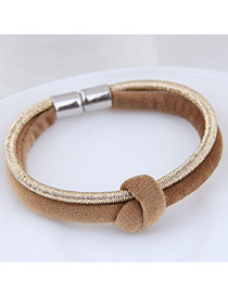 Fashion Khaki+gold Color Double Layer Design Bracelet