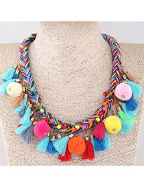 Fashion Multi-color Pom Ball&tassel Decorated Necklace