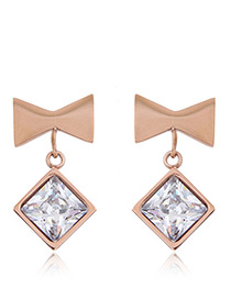 Fashion Rose Gold+sapphire Blue Bowknot Shape Decorated Earrings