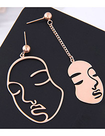 Fashion Rose Gold Face Shape Decorated Earrings
