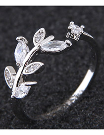 Simple Silver Color Leaf Shape Decorated Ring
