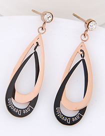 Fashion Black+rose Gold Water Drop Shape Decorated Earrings
