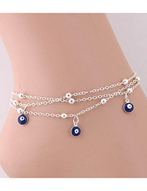 Elegant Silver Color Eyes Shape Pendant Decorated Anklet