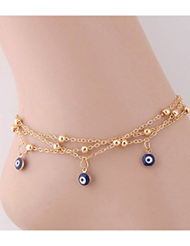 Elegant Gold Color Eyes Shape Pendant Decorated Anklet