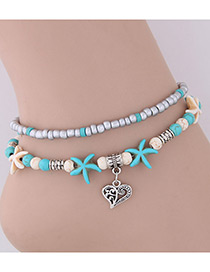 Elegant Blue+silver Color Heart Shape&starfish Decorated Anklte