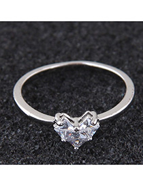 Elegant Silver Color Pure Color Design Heart Shape Ring