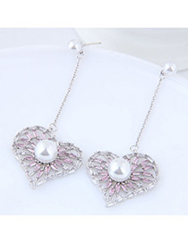 Elegant Silver Color Pearls Decorated Heart Shape Earrings