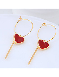 Fashion Gold Color+red Heart Shape Decorated Earrings Reviews