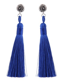 Fashoin Sapphire Blue Diamond Decorated Tassel Earrings