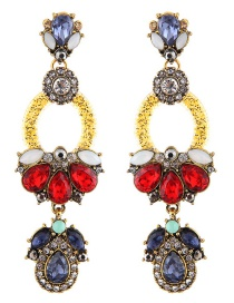 Fashoin Multi-color Water Drop Shape Decorated Earrings