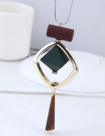 Fashoin Multi-color Square Shape Decorated Necklace