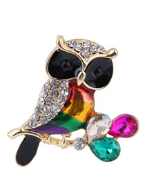 Simple Multi-color Owl Shape Decorated Brooch