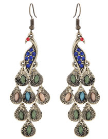 Simple Multi-color Peacock Shape Decorated Earrings