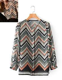 Fashion Multi-color Geometry Pattern Decorated Shirt