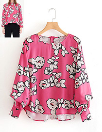 Fashion Plum Red Flower Pattern Decorated Shirt