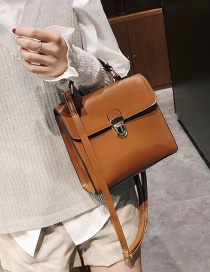 Fashion Light Brown Buckle Decorated Shoulder Bag