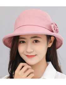 Trendy Light Pink Flower Decorated Pure Color Sun Hat