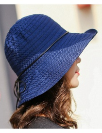Trendy Navy Pure Color Design Foldable Sunshade Hat