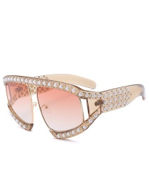 Fashion Gold Color Pearl Decorated Sunglasses