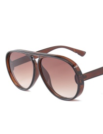 Fashion Coffee Pure Color Decorated Sunglasses
