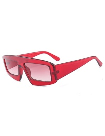 Fashion Claret Red Square Shape Decorated Sunglasses