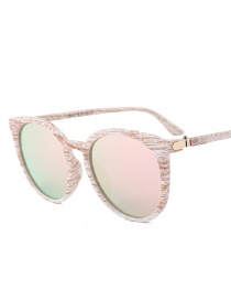 Fashion Pink Round Shape Decorated Sunglasses