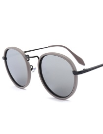 Fashion Silver Color Round Shape Decorated Sunglasses