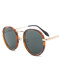 Fashion Coffee Round Shape Decorated Sunglasses