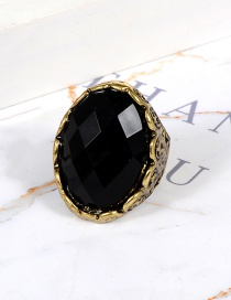 Fashion Black Round Shape Decorated Ring