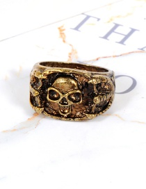 Fashion Gold Color Skull Shape Decorated Ring