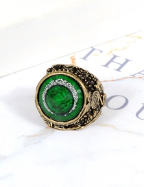Fashion Green Round Shape Decorated Ring