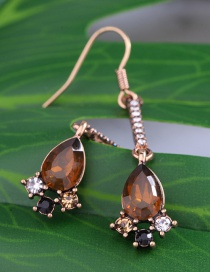 Fashion Brown Water Drop Shape Decorated Earrings